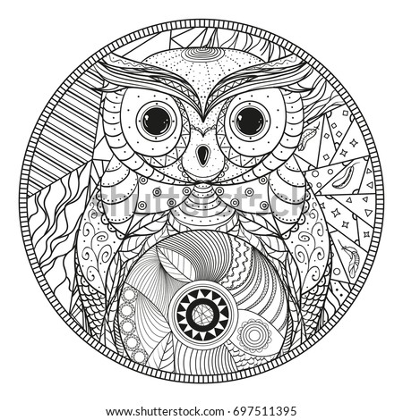 owl mandala zentangle hand drawn circle zendala with abstract patterns on isolation background