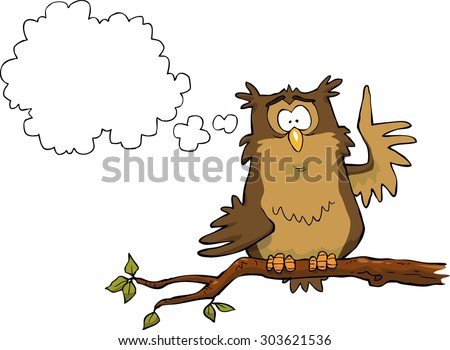 Owl on a branch with thought bubble, vector illustration - stock vector