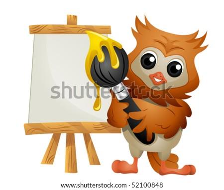 Owl Painter - Vector - stock vector