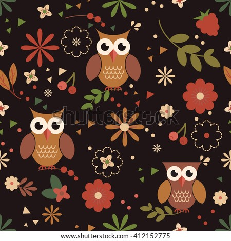 Owl pattern cute owls seamless vector stock vector 412152775 owl pattern cute owls seamless vector pattern for wallpaper web page background textile voltagebd Images