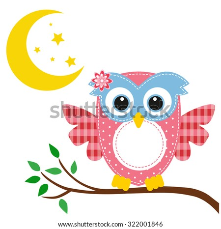 owl pink on a branch and moon - stock vector