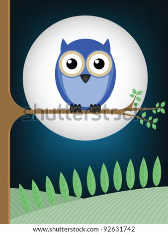 Owl sat on a tree branch against a full moon - stock vector