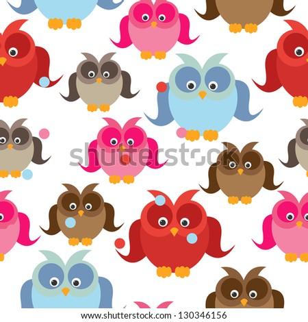 owl seamless - stock vector