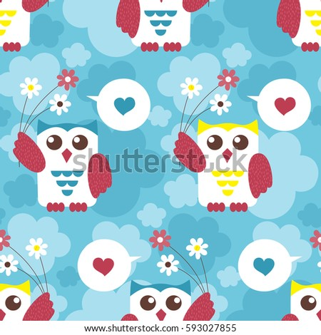 Owl seamless pattern surface kid decoration stock vector 593027855 owl seamless pattern surface kid decoration with colorful owls vector illustration cloth design voltagebd Gallery