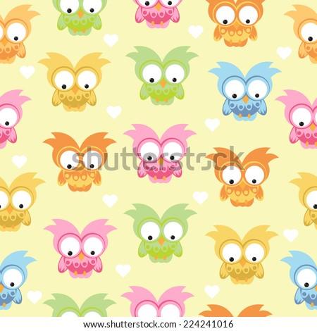 Owl seamless pattern . vector - stock vector