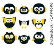 Owl set, vector. - stock vector