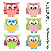 owl set with stripes - stock vector