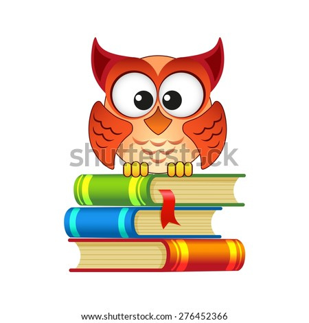 Owl sitting on a pile of books - stock vector