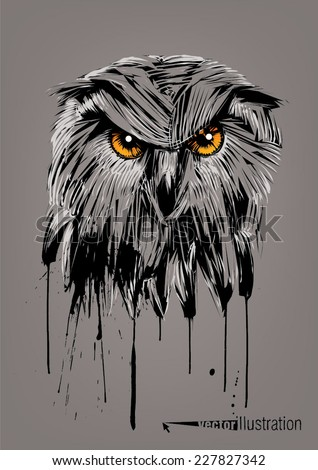Owl. Sketch drawn hands style - stock vector