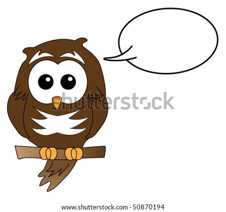 Owl speaking - stock vector