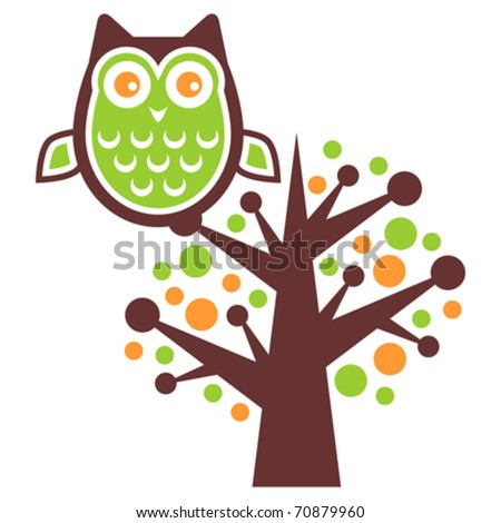 Owl stand alone on a tree brunch - stock vector