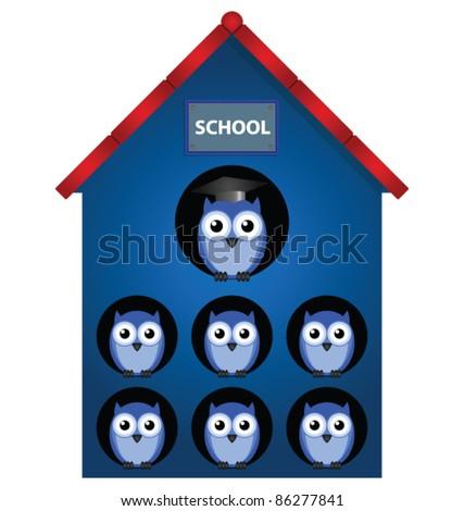 Owl teacher and owl pupils in school - stock vector