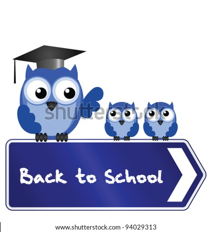 Owl teacher and pupils with back to school message on sign - stock vector