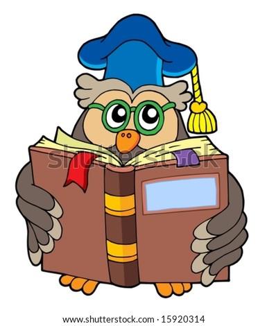 Owl teacher reading book - vector illustration. - stock vector