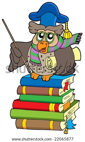 Owl teacher with parchment on books - vector illustration. - stock vector