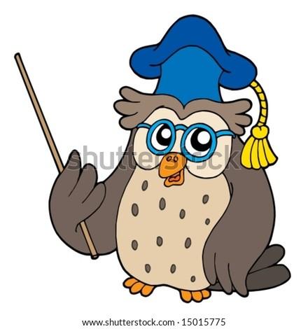 Owl teacher with pointer - vector illustration. - stock vector