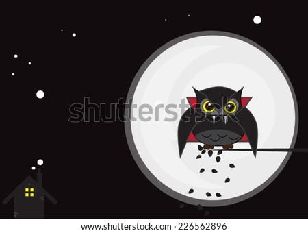 owl vampire - stock vector