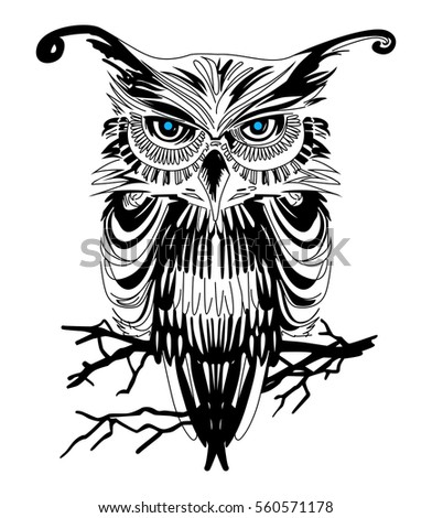 owl vector art on white background stock vector 560571178 shutterstock rh shutterstock com owl vector art free download owl clip art vector