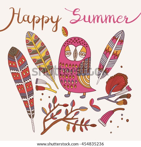 Owl vector.owl illustration.cute cartoon characters.Trendy owl. Happy summer card.