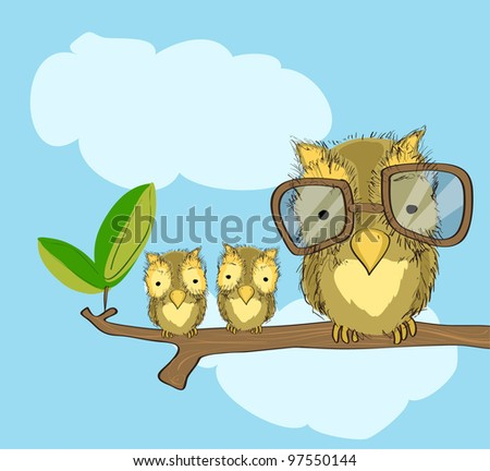 owl with glasses  and baby owls on branch, free hand drawing style, original design - stock vector