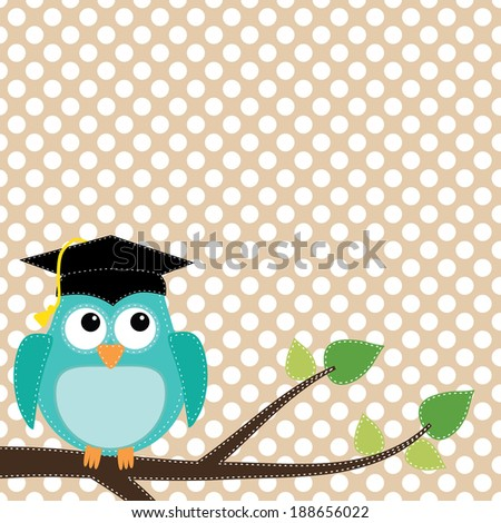 Owl with graduation cap sitting on branch, for scrapbooking, vector format on transparent background. - stock vector