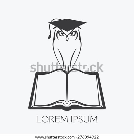 OWL WITH GRADUATION CAP SITTING ON OPEN BOOK illustration vector - stock vector