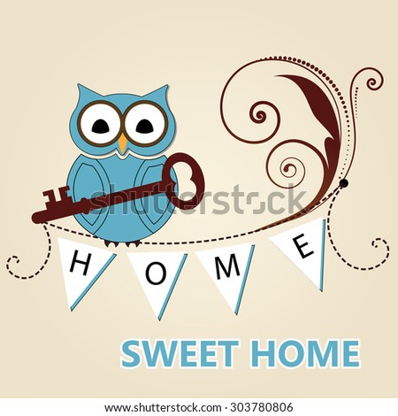 "owl with key "" home sweet home""   - stock vector"