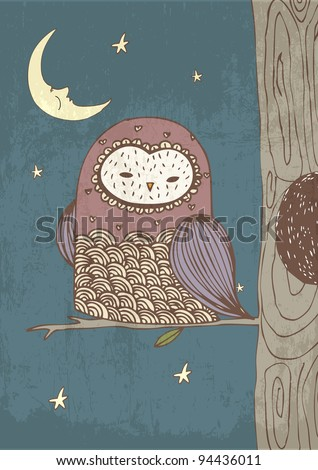owl with moon and stars illustration/vector - stock vector