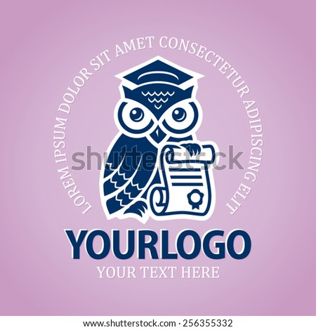 Owl with scroll and graduation cap logo design template - stock vector