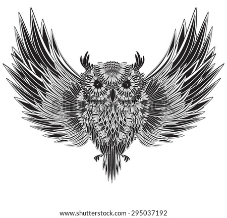 Owl with spread wings - stock vector