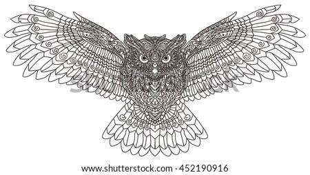 Zentangle Stylized Cartoon Eagle