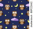 Owls at night with stars, clouds and moon. Seamless pattern. - stock