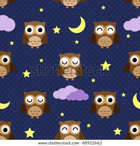 Owls at night with stars, clouds and moon. Seamless pattern. - stock vector