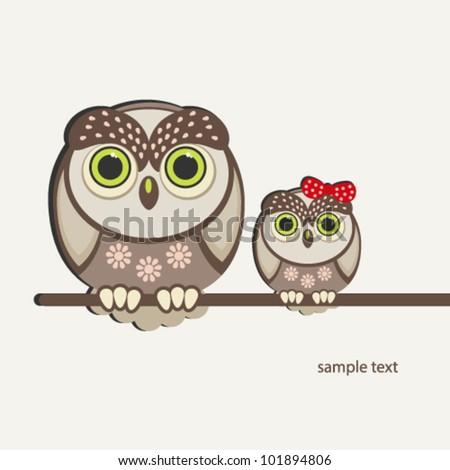 Owls birds background. - stock vector