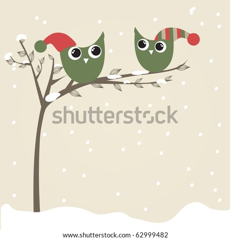 Owls couple in christmas hats on the tree branch. Holiday greetings card - stock vector