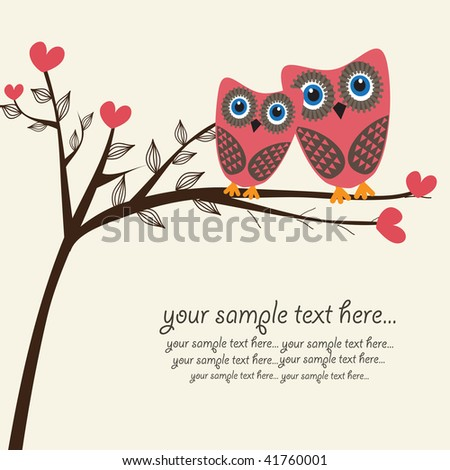 Owls couple in love. Vector. - stock vector