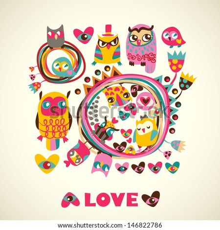 Owls cute background. Template for design cartoon greeting card - stock vector