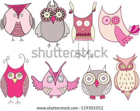 owls drawing set pink - stock vector