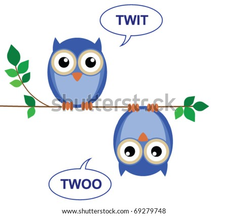 Owls sat on a branch calling Twit Twoo - stock vector