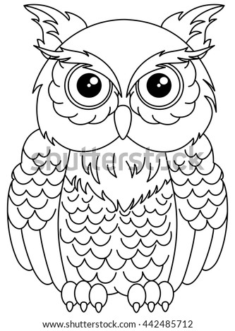 Owls Sitting Coloring Stock Vector 442485712 Shutterstock