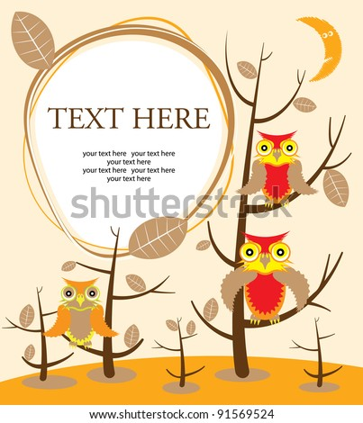 Owls sitting upon a tree branch