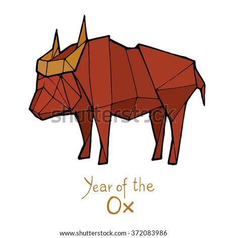 Ox origami, Chinese Zodiac. Hand drawn vector illustration
