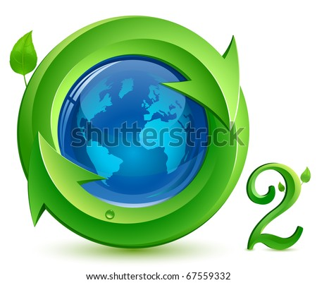 Oxygen. o2.  Eco Concept. Globe, arrows and green leaves with drop of water. - stock vector