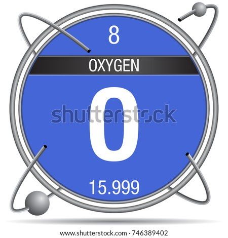 Atomic number 8 stock images royalty free images vectors oxygen symbol inside a metal ring with colored background and spheres orbiting around element number urtaz Image collections