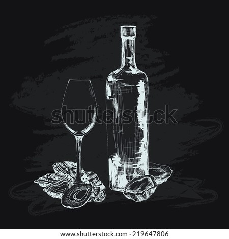 Oyster, wine and glass. Hand drawn graphic illustration - stock vector
