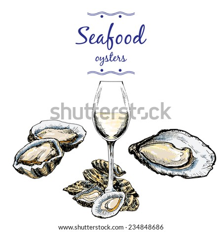 Oysters and wine glass. Hand drawn illustration - stock vector