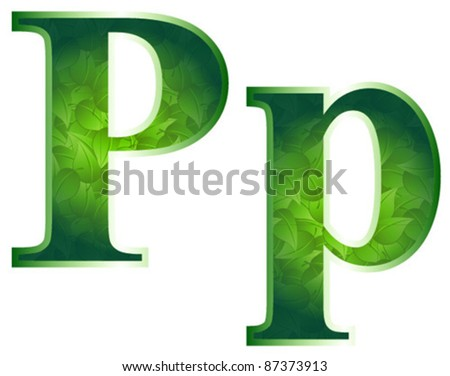 P leaf letter - stock vector