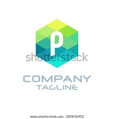 P Letter Logo Icon Hexagon Mosaic Pattern Design template Element - Creative Shape Polygonal logo design - Vector illustration - stock vector