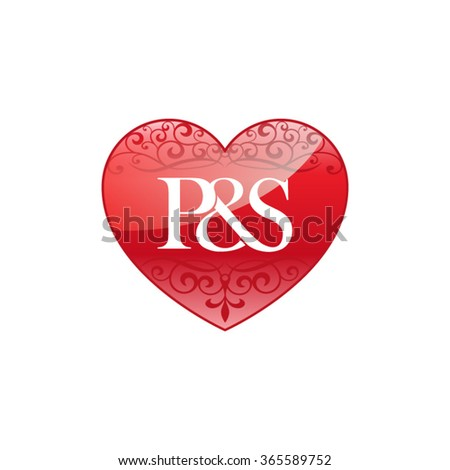 ps initial letter logo ornament heart stock vector 365589752