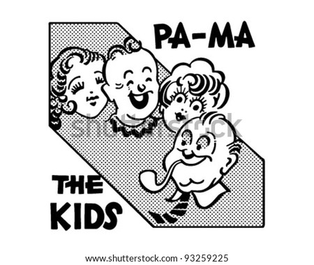 Pa-Ma The Kids - Retro Clipart Illustration - stock vector